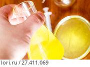 Купить «Flask for chemical experiments», фото № 27411069, снято 6 февраля 2016 г. (c) Евгений Ткачёв / Фотобанк Лори