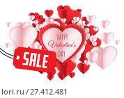 Купить «Sale for Happy Valentine's Day text and Paper Valentines hearts», фото № 27412481, снято 19 октября 2018 г. (c) Wavebreak Media / Фотобанк Лори