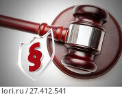 3D Section symbol icon and justice gavel. Стоковое фото, агентство Wavebreak Media / Фотобанк Лори