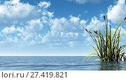 Купить «Wasseroberfläche und schilf unter blauem wolkenhimmel - 3d illustration», фото № 27419821, снято 20 января 2018 г. (c) easy Fotostock / Фотобанк Лори