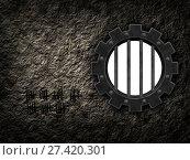 Gefängnisfenster in form eines zahnrades - 3d illustration. Стоковое фото, фотограф Zoonar/j.röse-oberr / easy Fotostock / Фотобанк Лори