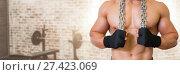 Купить «Fit strong Man in gym holding chains», фото № 27423069, снято 20 февраля 2019 г. (c) Wavebreak Media / Фотобанк Лори