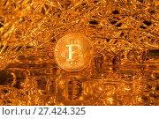 Купить «Золотая монета криптовалюты Биткоин внутри Всемирной сети», фото № 27424325, снято 24 декабря 2017 г. (c) Николай Винокуров / Фотобанк Лори