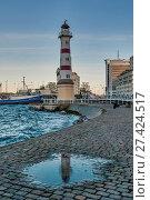 Купить «Маяк в городе Мальмо. Швеция», фото № 27424517, снято 30 октября 2017 г. (c) Александр Овчинников / Фотобанк Лори