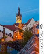 Купить «Image of streets of Sibiu with view of Cathedral», фото № 27425705, снято 16 сентября 2017 г. (c) Яков Филимонов / Фотобанк Лори
