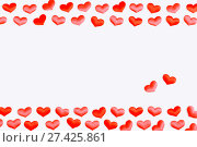 Купить «St Valentines day background. Red silk hearts on the white wooden background, space for text, St Valentines day festive concept», фото № 27425861, снято 21 января 2018 г. (c) Зезелина Марина / Фотобанк Лори