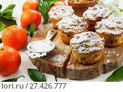 Купить «Мандариновые маффины с изюмом», фото № 27426777, снято 7 января 2018 г. (c) Надежда Мишкова / Фотобанк Лори