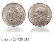 Купить «Coin 10 000 lira. Turkey», фото № 27429213, снято 22 января 2016 г. (c) Евгений Ткачёв / Фотобанк Лори