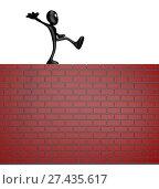 Купить «Cartoonfigur balanciert auf ziegelsteinmauer - 3d illustration», фото № 27435617, снято 9 июля 2020 г. (c) easy Fotostock / Фотобанк Лори