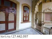 Купить «Intricacy and asymmetry, Vijay Vilas Palace, Bhuj, Gujarat.», фото № 27442097, снято 1 февраля 2016 г. (c) age Fotostock / Фотобанк Лори