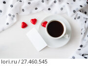 Купить «St Valentines day romantic background - cup of coffee, heart shaped candies and blank card for romantic message», фото № 27460545, снято 24 января 2017 г. (c) Зезелина Марина / Фотобанк Лори