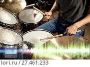 Купить «male musician playing drum kit at concert», фото № 27461233, снято 18 августа 2016 г. (c) Syda Productions / Фотобанк Лори