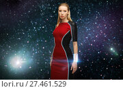 Купить «futuristic woman with transmitter in space», фото № 27461529, снято 17 ноября 2012 г. (c) Syda Productions / Фотобанк Лори