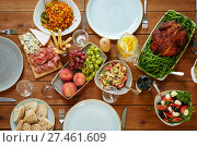 Купить «various food on served wooden table», фото № 27461609, снято 5 октября 2017 г. (c) Syda Productions / Фотобанк Лори