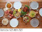 Купить «various food on served wooden table», фото № 27461721, снято 5 октября 2017 г. (c) Syda Productions / Фотобанк Лори