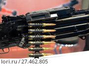 Купить «Лента с боевыми патронами в ручном пулемёте», фото № 27462805, снято 20 октября 2015 г. (c) Free Wind / Фотобанк Лори