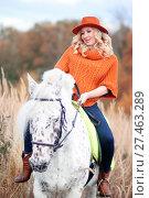 Купить «Девушка с лошадью», эксклюзивное фото № 27463289, снято 8 октября 2017 г. (c) Инна Козырина (Трепоухова) / Фотобанк Лори