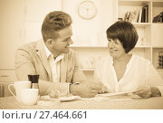 Купить «Man and woman with coffee», фото № 27464661, снято 17 октября 2018 г. (c) Яков Филимонов / Фотобанк Лори