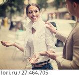 Купить «man flirting with smiling woman», фото № 27464705, снято 19 января 2019 г. (c) Яков Филимонов / Фотобанк Лори