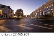 Купить «Christmas (New Year holidays) decoration Lubyanskaya (Lubyanka) Square in the evening, Moscow, Russia. Inscription in Russian - Central Children's Store», фото № 27465909, снято 9 января 2018 г. (c) Владимир Журавлев / Фотобанк Лори