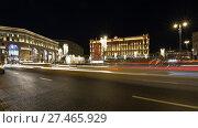 Купить «Christmas (New Year holidays) decoration Lubyanskaya (Lubyanka) Square in the evening, Moscow, Russia», фото № 27465929, снято 9 января 2018 г. (c) Владимир Журавлев / Фотобанк Лори