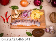 Купить «Herring fillet», фото № 27466541, снято 18 января 2018 г. (c) Art Konovalov / Фотобанк Лори
