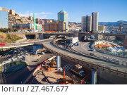 Купить «Genova city skyline with overpass», фото № 27467677, снято 17 января 2018 г. (c) EugeneSergeev / Фотобанк Лори
