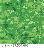 Купить «Seamless green camouflage of pixel pattern», иллюстрация № 27504665 (c) Сергей Лаврентьев / Фотобанк Лори