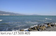 Купить «Tidal bore. Coast in Tsemess bay. Rocky beach. Sea waves.», видеоролик № 27509405, снято 29 сентября 2017 г. (c) Леонид Еремейчук / Фотобанк Лори