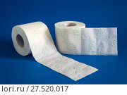 Купить «Two Roll of white soft toilet paper on blue background», фото № 27520017, снято 23 января 2018 г. (c) Володина Ольга / Фотобанк Лори