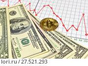 Купить «Золотая монета Bitcoin, доллары и графики», эксклюзивное фото № 27521293, снято 30 января 2018 г. (c) Юрий Морозов / Фотобанк Лори