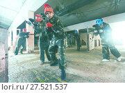Купить «Two in red masks are ready for attack», фото № 27521537, снято 10 июля 2017 г. (c) Яков Филимонов / Фотобанк Лори