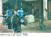 Купить «Player in blue mask is targeting in rival», фото № 27521709, снято 10 июля 2017 г. (c) Яков Филимонов / Фотобанк Лори