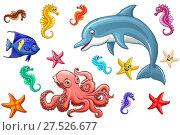 Купить «Набор милых разноцветных морских животных изолированно на белом фоне. Голубой дельфин, розовый осьминог, желтый морской конек, красная звезда и синяя рыба-ангел. Иллюстрация в мультипликационном стиле», иллюстрация № 27526677 (c) Анастасия Некрасова / Фотобанк Лори
