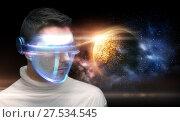 Купить «man in 3d glasses over planet and space», фото № 27534545, снято 17 ноября 2012 г. (c) Syda Productions / Фотобанк Лори