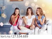 Купить «happy friends eating pizza and watching tv at home», фото № 27534689, снято 14 ноября 2015 г. (c) Syda Productions / Фотобанк Лори