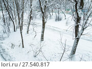 Купить «Последствия сильного снегопада в Москве. Заснеженная дорога», фото № 27540817, снято 31 января 2018 г. (c) Алёшина Оксана / Фотобанк Лори