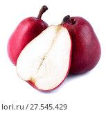 Купить «Три Красные груши на белом фоне», фото № 27545429, снято 25 июня 2013 г. (c) Литвяк Игорь / Фотобанк Лори