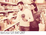 Купить «Couple choosing house decoration materials», фото № 27547297, снято 9 марта 2017 г. (c) Яков Филимонов / Фотобанк Лори