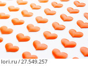 Купить «St Valentines day background. Light red hearts on the white wooden background», фото № 27549257, снято 20 января 2018 г. (c) Зезелина Марина / Фотобанк Лори