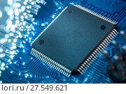 Купить «Close-up of electronic circuit board», фото № 27549621, снято 4 февраля 2018 г. (c) Александр Якимов / Фотобанк Лори