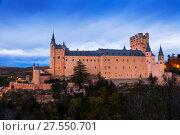 Купить «Dusk view of Alcazar of Segovia», фото № 27550701, снято 16 ноября 2014 г. (c) Яков Филимонов / Фотобанк Лори