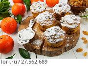 Купить «Мандариновые кексы с изюмом и сахарной пудрой на столе», фото № 27562689, снято 7 января 2018 г. (c) Надежда Мишкова / Фотобанк Лори