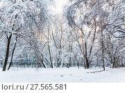 Купить «Двор заваленный снегом после сильного снегопада в Москве», фото № 27565581, снято 31 января 2018 г. (c) Алёшина Оксана / Фотобанк Лори
