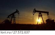 Купить «Working oil pumps silhouette against sunset», видеоролик № 27572037, снято 18 октября 2017 г. (c) Михаил Коханчиков / Фотобанк Лори