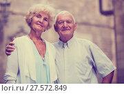 Купить «loving mature spouses enjoying walk», фото № 27572849, снято 19 октября 2018 г. (c) Яков Филимонов / Фотобанк Лори