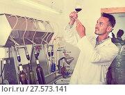 Купить «Portrait of male winery worker with bottling machinery on factor», фото № 27573141, снято 17 июля 2018 г. (c) Яков Филимонов / Фотобанк Лори