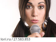 Купить «Intimate Bright Portrait Musical Performer Singing into Microphone», фото № 27583853, снято 16 июня 2019 г. (c) PantherMedia / Фотобанк Лори