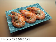 Купить «Cooked, boiled, steamed shrimp, prawn», фото № 27597173, снято 22 августа 2018 г. (c) PantherMedia / Фотобанк Лори