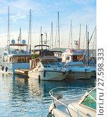 Купить «Yachts in marina, Cannes, France», фото № 27598333, снято 26 марта 2019 г. (c) PantherMedia / Фотобанк Лори